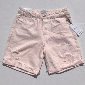 NWT Forever 21 Pink High Rise Distressed Jn Shorts